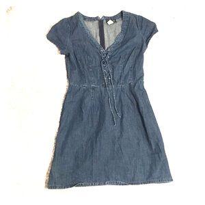 VENUS. Lace front denim dress